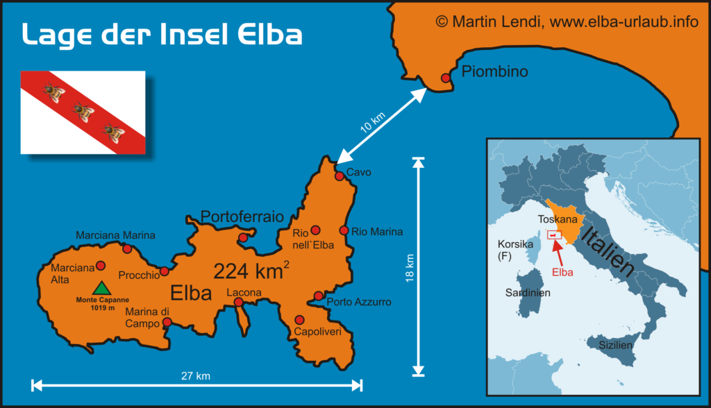 Lage der Insel Elba Karte