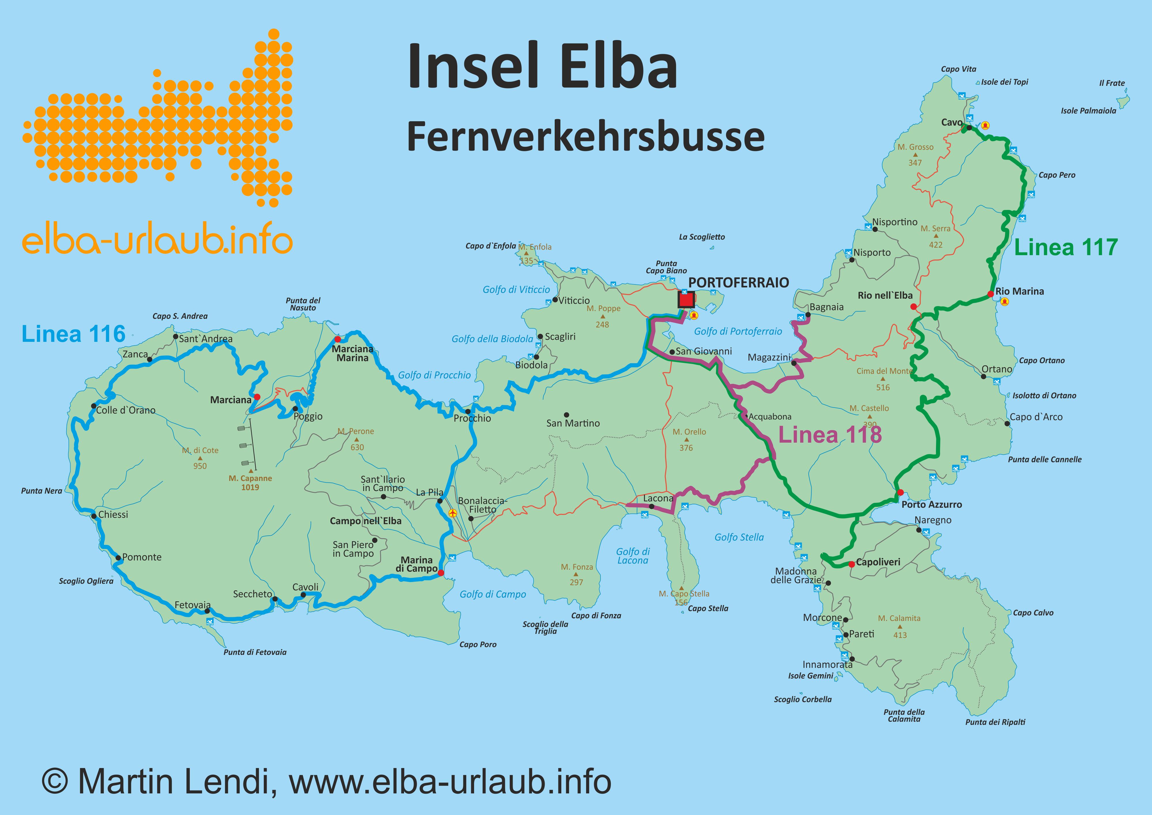 Elba Karte.öffentlicher Verkehr Auf Elba Insel Elba Der Grosse Reiseführer