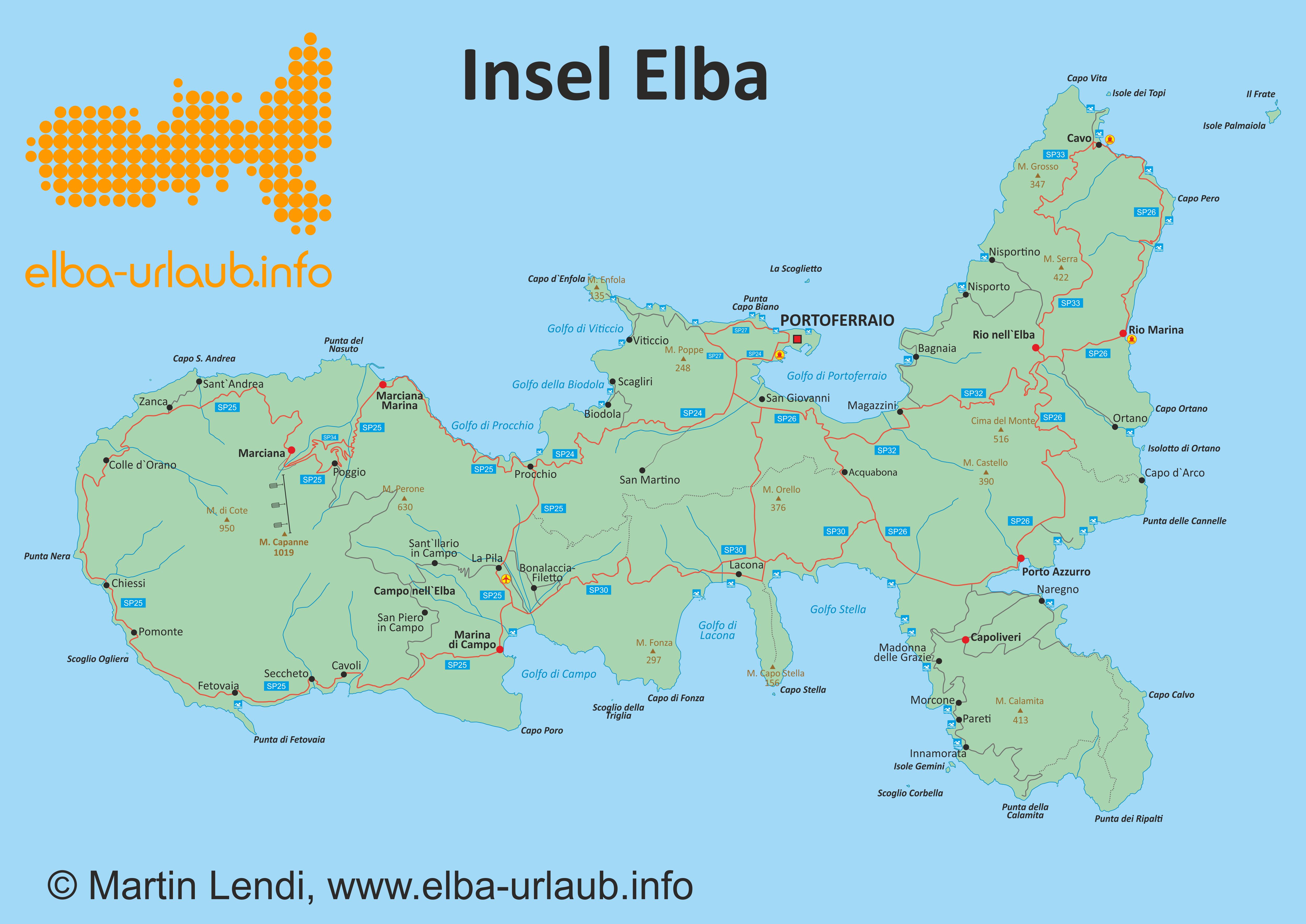 Elba Karte.Karte Der Insel Elba Insel Elba Der Grosse Reiseführer